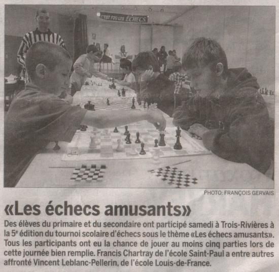 Tournois scolaire d'échecs